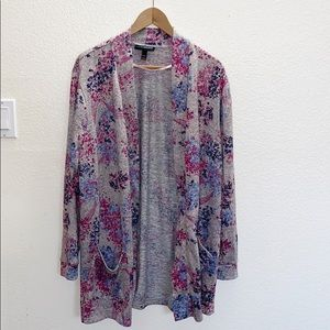 Lane Bryant Floral Gray Open Front Cardigan